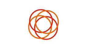 de cirkel, vurige sinaasappel van het ladingsscherm en rood op witte achtergrond - 30fps-lijn - videotextuur, naadloos geanimeerd stock video