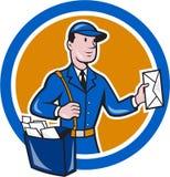 De Cirkelbeeldverhaal van brievenbestellerpostman delivery worker Stock Afbeelding