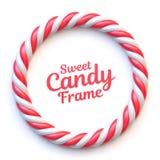 De cirkelkader van het suikergoedriet op witte achtergrond Royalty-vrije Stock Afbeeldingen