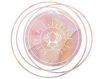 De cirkellotusbloem van het de meditatiesymbool van Waterverfmandala stock foto's