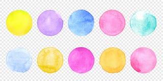 De cirkelreeks van de kleurenwaterverf De vectorvlek van de vlekken watercolour plons op transparante achtergrond vector illustratie