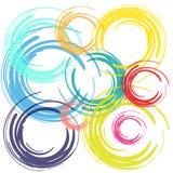 De cirkels van de kleurenborstel op witte achtergrond Stock Afbeeldingen