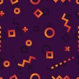 De cirkels, vierkanten, krommen, stormden lijnen en tekens op een donker patroon als achtergrond stock illustratie
