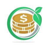 De cirkelvorm van het embleempictogram aan het concept financiële investerings bedrijfsontwikkeling Stock Fotografie