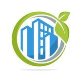 De cirkelvorm van het embleempictogram met het beheersconcept groene steden Stock Foto