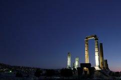 De citadel en de Tempel van Hercules, Amman, Jordanië Stock Foto
