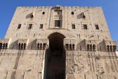 De citadel van Aleppo in Syrië stock foto's