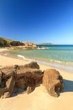 De citadel van Calvi die uit Strand DE Petra Muna, Corsica wordt genomen Royalty-vrije Stock Foto