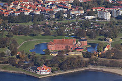 De citadel van Landskrona die van de lucht wordt gefotografeerd Stock Afbeeldingen