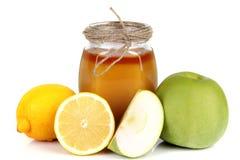 De citroen en de appel van de honing Stock Fotografie