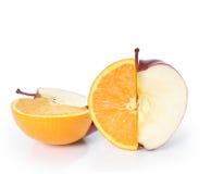 De Citroen en de sinaasappel van de appel Stock Fotografie