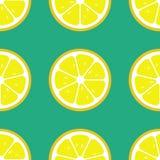 De citroen snijdt naadloos patroon Vlakke voedseltextuur stock afbeeldingen