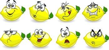 De citroenen van het beeldverhaal met emoties Royalty-vrije Stock Foto's