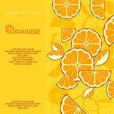 De Citrusvruchten snijden achtergrond in geel & tekst, illustra Royalty-vrije Stock Fotografie
