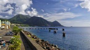 De cityscopemening van Roseau op 9 Januari, 2017 Roseau is het kapitaal van Dominica eiland, Stock Foto