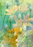 De clematissen bloeien knoppen en gele bloemen op een abstracte achtergrond Royalty-vrije Stock Fotografie