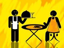 De cliënt van de kelner en van de vrouw Stock Afbeelding