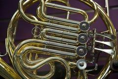 De close-up Franse hoorn van de conceptenmuziek Stock Fotografie