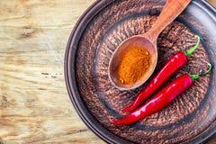 De close-up maalde de vlokken van de Spaanse peperpeper en Spaanse peperpoeder op donkere plaat, verse rode rijpe hete Spaanse pe Stock Foto