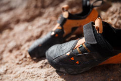 De close-up van bergbeklimmingsschoenen Royalty-vrije Stock Foto