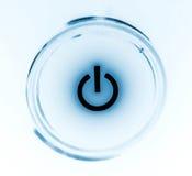 De close-up van de de machtsknoop van de monitor in duisternis Stock Foto
