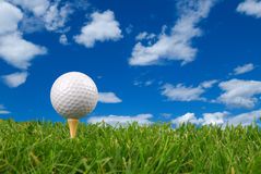 De close-up van de golfbal Stock Foto