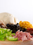 De Close-up van de Ingrediënten van de pizza Royalty-vrije Stock Fotografie
