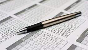 De close-up van de pen op kalender 2011 Royalty-vrije Stock Afbeeldingen