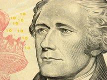 De close-up van de tien dollarsrekening Royalty-vrije Stock Foto's