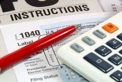 De Close-up van de Tijd van de belasting Stock Afbeeldingen