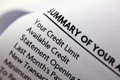 De Close-up van de Verklaring van de Creditcard Royalty-vrije Stock Afbeelding