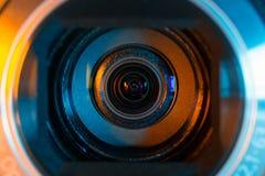 De close-up van de videocameralens