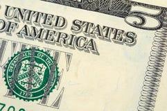 De close-up van de vijf dollarrekening Royalty-vrije Stock Afbeeldingen