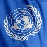 De Close-up van de Vlag van de Verenigde Naties Stock Foto