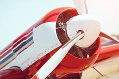 De close-up van de vliegtuigpropeller in openlucht Royalty-vrije Stock Afbeelding