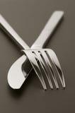 De close-up van de vork en van het mes Royalty-vrije Stock Foto's