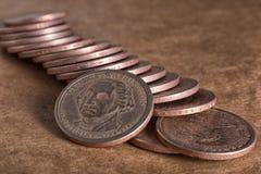 De close-up van de dollarmuntstukken van Verenigde Staten Stock Foto