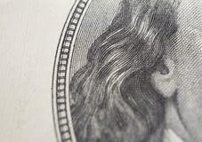 De close-up van dollars Het portret van Benjamin Franklin ` s op honderd dollarrekening stock afbeelding