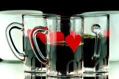 De close-up van drie koffieschoten Stock Afbeeldingen