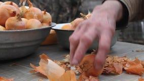 De close-up van de hand van een oude vrouw neemt uien op alvorens in de keuken, organische groenten, haar eigen gewas te koken stock video