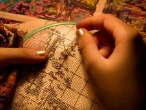 De close-up van het borduurwerk stock afbeelding