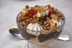 De close-up van het chocolade profiterole gebakje op een glaskom die wordt gediend met Stock Fotografie