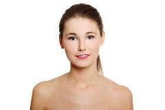 De close-up van het gezicht van een naakte tiener. Stock Foto