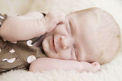 De Close-up van het Meisje van de Baby van de slaap Royalty-vrije Stock Afbeelding