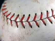 De close-up van het softball van het stikken stock foto