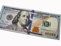 De close-up van de honderd dollarrekening op witte achtergrond royalty-vrije stock afbeelding