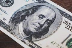 De close-up van de honderd dollarsrekening - USD-geldconcept stock afbeeldingen