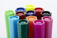 De close-up van kleurenpennen Royalty-vrije Stock Afbeeldingen