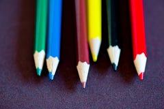 De close-up van kleurpotloden Stock Foto's