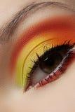 De close-up van manierogen maakt, heldere oogschaduw op Royalty-vrije Stock Foto